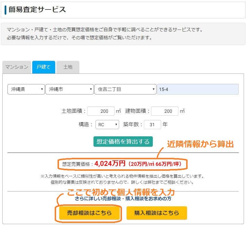イエカリヤ不動産売却簡易査定サービス、売買金額の算出画面。